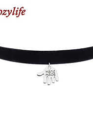 "Cozylife 3/8"" Girls Black Velvet Gothic Collar Vintage Choker Necklace with Palm Pendant"