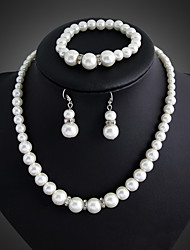 Huabi Women's Fashion Inlaid Pearls Necklace Earrings Bracelet Bridal Set