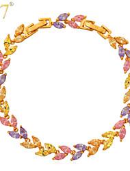 U7® Women's Sparkle Leaf Cut CZ Jewelry Bangles 18K Gold/Platinum Plated Multicolor Cubic Zirconia Tennis Bracelets
