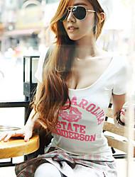 Nais- Lyhythihainen Pyöreä kaula-aukko Puuvilla T-paita