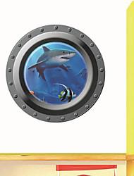 adesivos de parede adesivos de parede, 3d oceano janela tubarão adesivo de parede de pvc