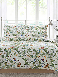 H&C 100% Cotton 600TC Duvet Cover Set 4-Piece White Flowers And Green Leaves Pattern Beige Background  XB2-008