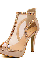 Women's Shoes Tulle Stiletto Heel Heels Sandals Casual White/Gold