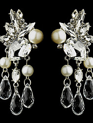Vintage Women's Water Dorp Earrings Pearls Diamond Long Silver Earring For Wedding Bridal
