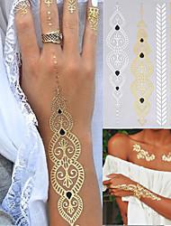 4 - Séries bijoux - Doré/Noir/Argenté - Motif - 23*15.5*0.2CM - Tatouages Autocollants Homme/Femme/Adulte/Adolescent