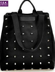 AIKEWEILI®Women's Handbag Fashion Rivet Casual Canvas Totes Bag Korean Style All-Match Shopping Shoulder Bag