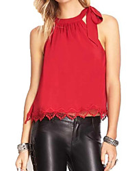 Women's Casual Solid Color Lace Splice Strap Halter Vest Blouse (Polyester/ Lace)