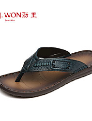 Men's Shoes Casual Leather Slippers Brown/Green