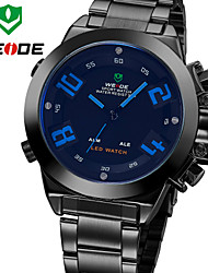 WEIDE Men Fashion Army Analog & Digital LED Display Full Black Stainless Steel Wrist Watch