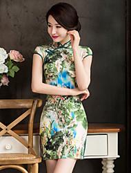 Mulheres Vestido Mini Sem Manga Decote Redondo/Colarinho Chinês Mulheres