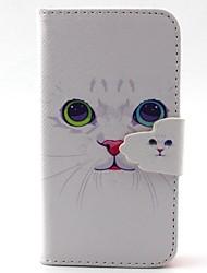 motif de chat blanc PU cas matériel pour iPhone 4 / 4S