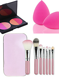 HOT SALE 7Pcs/set Pink Box Soft Kit Makeup Brush Tool+4 Colors Contour Face Powder Blush Makeup Palette + Powder Puff