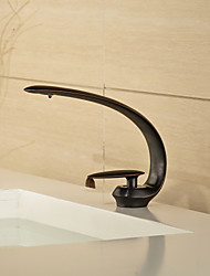 Contemporary Style ORB Single Handle One Hole Hot and Cold Water Bathroom Sink Faucet - Black