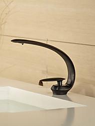 eigentijdse stijl orb enkel handvat één gat warm en koud water badkamer wastafel kraan - zwart