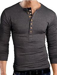 T-Shirts ( Coton mélangé ) Informel Col V à Manches longues