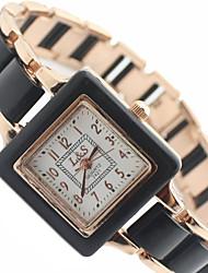 Mulheres Relógio de Moda Quartz Lega Banda Preta / Branco marca-