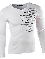 Men's V-Neck T-Shirts , Cotton Blend Long Sleeve Casual Embroidery All Seasons HI MAN