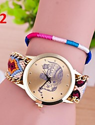 Hand knitting Band National Elephant Wind Golden Simple Dial Women Dress Watch Quartz Geneva Watch