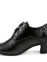 Modern Women's Dance Shoes Heels Breathable Real Leather Low Heel Black