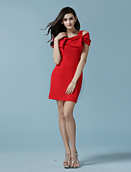 Women's Casual/Daily Sexy Bodycon Dress,Solid Strap / Off Shoulder / Bow Above Knee Short Sleeve Red Summer