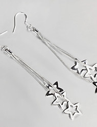 Wedding Dress Star Design Silver Plated Drop Earrings for Lady