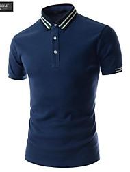 JESUNLOM®Man's Polo Shirt Fashion Short Sleeve Stripe Collar T-Shirt Korean Style Summer Casual Sport Polo Shirt