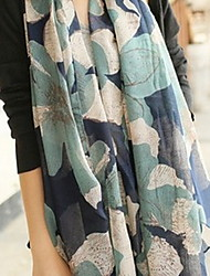 Women Cute Contrast Color Big Flower Scarf Shawl