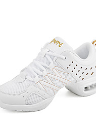 Women's Dance Shoes Sneakers Breathable Synthetic Low Heel White