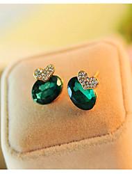Korean emerald heart-shaped Earrings Cute Gemstone & Crystal Stud Earrings Hot Sale 2015