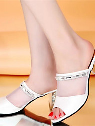 Women's Shoes Chunky Heel Open Toe Slippers Dress Pink/White