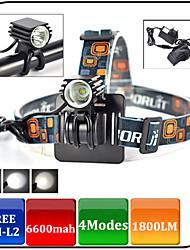 XIE SHENG YGBL-098 3 Mode 1600 Led Front Lights Bicycle Light  + Tail Light Kits AC 8.4V 6600mAh battery pack 18650