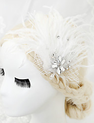 Women's/Flower Girl's Feather/Rhinestone/Alloy/Net Headpiece - Wedding/Special Occasion Hair Combs 1 Piece