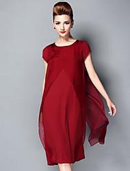 Damen Kleid - Übergrößen Übergröße / Leger Solide Midi Seide / Kunstseide / Polyester Rundhalsausschnitt