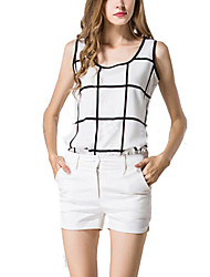 Women's Slim Plaid Chiffon Blouse Summer Tank Top Halter Vest Bottoming Shirt Plus Size