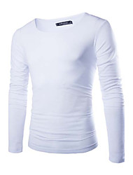 Men's Solid Casual T-Shirt,Others Long Sleeve-Black / Blue / White / Yellow / Gray