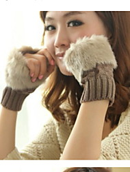 Lady Winter Warm Plaid Short Paragraph Wool Knitted Gloves