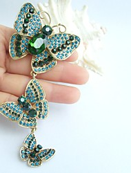 4.53 Inch Gold-tone Turquoise Green Rhinestone Crystal Butterfly Brooch Pendant Art Decorations