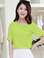 Women's Solid Blue/Pink/White/Green/Yellow Blouse , Round Neck Short Sleeve Pocket