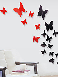 12 pcs 3D papillon en plastique de stickers muraux sticker mural