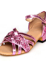 Children's Dance Shoes Sandals Paillette Chunky Heel Gold/Silver/Pink/Blue