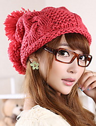 Women Lovely Three Ball Edge Cap Knitting Hat In Winter