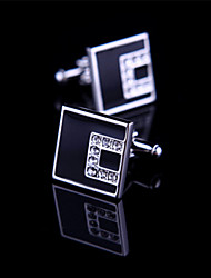 Toonykelly Fashion Copper Silver Plated Square Crystal Zircon Shirt Button Cufflink(1 Pair)