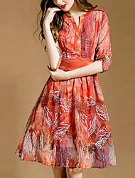 Women's V-Neck Dresses , Silk Party/Work ½ Length Sleeve SASA
