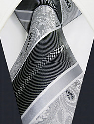 U29 Shlax&Wing White Black Paisley Ties Mens Necktie Silk Business Dress Suit