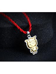 milhares de milhares de ouro fino colar de pingente de prata inlay pingente de ouro radiante bonito dos desenhos animados