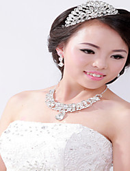 Crystal Alloy Bridal Necklace Earring And Headdress Set In High-End Wedding Three Sets Of Accessories