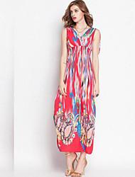 Women's Milk Fiber Oil Flower Print Sexy Casual Or Beach Long Maxi Dress