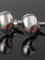 Men's 3D Alien Extraterrestrial ET UFO Red Black Wedding Cufflinks