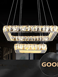 Home Crystal LED Pendant Lights Ceiling Chandeliers Lighting Hanging Lamps Fixtures with 2 Rings 30CM 50CM