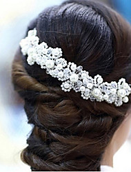 Headpieces Clear Crystals Wedding Bridal Tiara  Alloy Flower Pearl Crown Bridal Hair Accessories